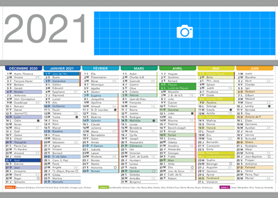 Calendrier 2021 personnalisable